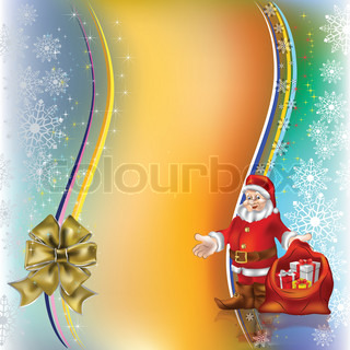 christmas greeting Santa Claus with gifts and gold bow