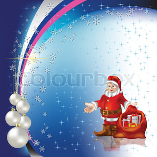 christmas greeting Santa Claus with pearl balls on stars background