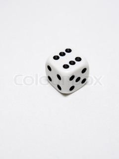 Single die on white showing number six