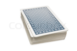 Pack of playing cards on table
