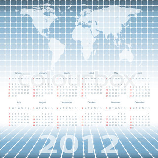 abstract modern vector calendar 2012 with mosaic and world map. Eps10