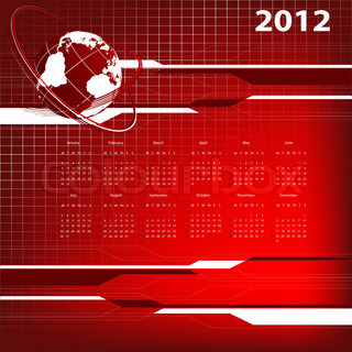 abstract modern vector calendar 2012 with globe. Eps10
