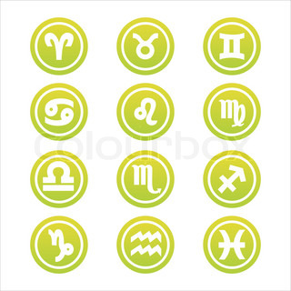 set of 12 green zodiac signs
