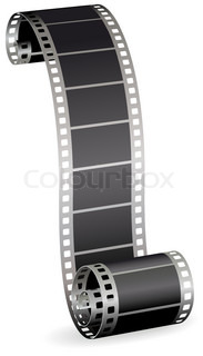 twisted film strip roll for photo or video on white background vector illustration