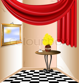 sunny room with no roof, red drapery, a table, a cup of hot coffee, a vase of yellow flowers and the sky in a frame on the wall