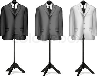 Black and white suits on mannequins. Vector illustration.