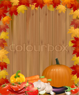 Autumn background with vegetables. Vector.