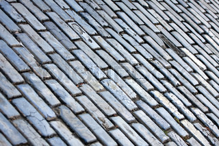 The famous blue tinted cobblestone lined streets of historic Old San Juan Puerto Rico.