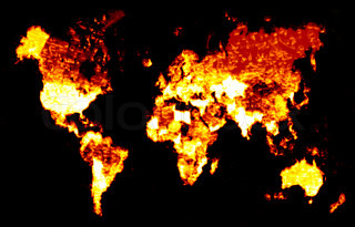 A world map of continents engulfed in flames.  This works great for global warming concepts.