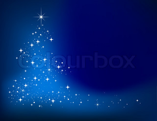 Blue vector abstract winter background with stars Christmas tree