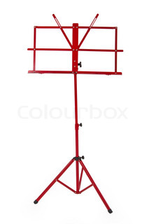 Red music stand isolated on white background