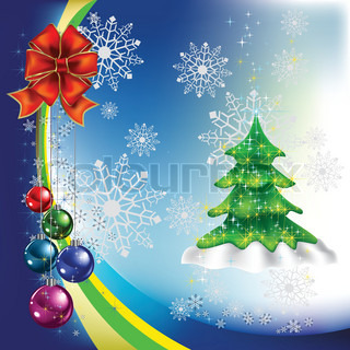 christmas tree with colored balls on a blue background