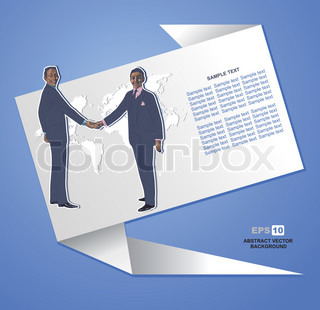 Hand-drawn vector, business people shaking hands over a deal