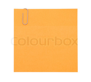 Orange paper note with paper clip