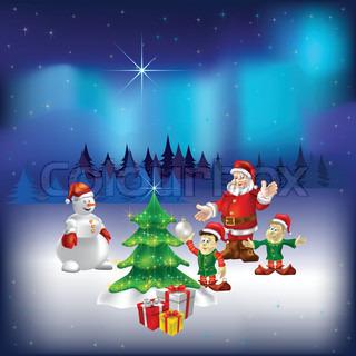 Santa Claus schneemann und Zwerge im Wald