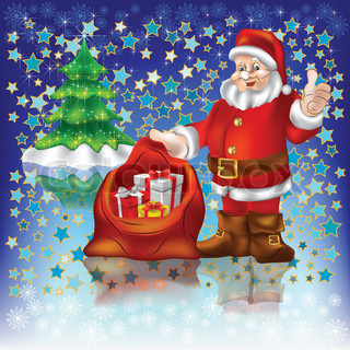 Santa Claus with christmas gifts on a blue stars background