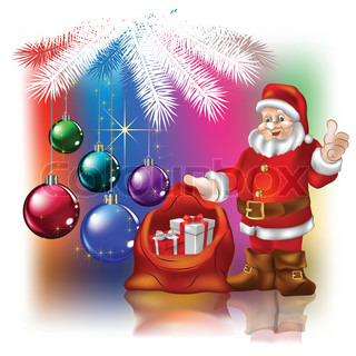 Santa Claus with christmas gifts on a colored background