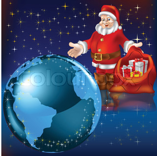 Santa Claus with gifts and planet earth