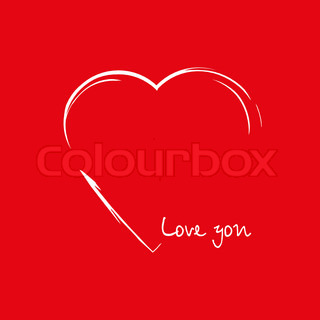Heart in the form drawing on red background