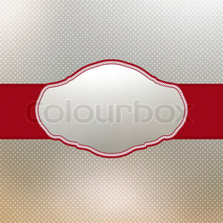 Vintage card with red ribbon, frame for your text. EPS 8 vector file included