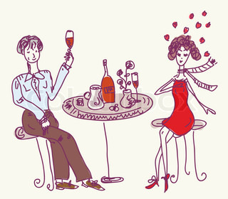 Date in the cafe cartoon