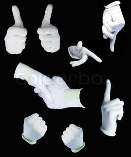 set of human hands in white gloves on a black background