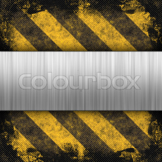 3d brushed metal layout on a grungy hazard stripes background.  This makes a great industrial layout.  The stripes have a carbon fiber look.