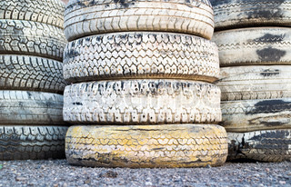 Pile of auto tires on a race track