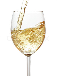 Pouring white wine isolated over whte background