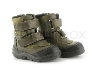 Child's winter boots isolated over white background