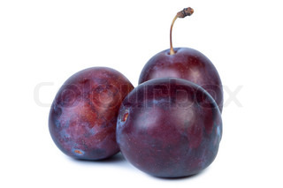 Plum isolated on white background shadow below.