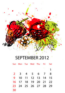 Calendar with fruit for 2012, september