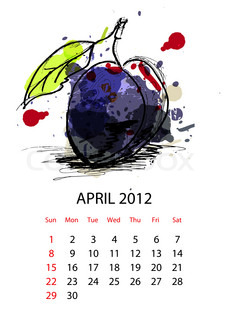 Calendar with fruit for 2012, april