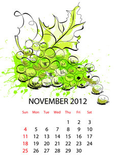 Calendar with fruit for 2012, november