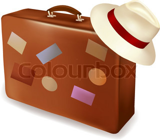 Travel suitcase and a hat. Vector illustration.