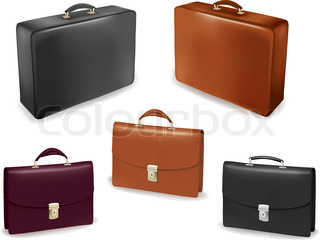 Set of bags and briefcases. Vector illustration.