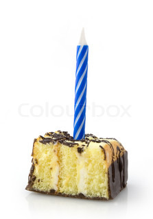 Small cake with blue candle