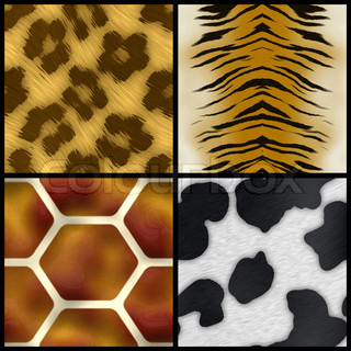 Set of animal print swatches that all tile seamlessly as a pattern.