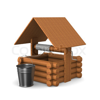 Wooden well with bucket on white background. Isolated 3D image