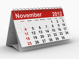 2012 year calendar. November. Isolated 3D image