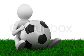 soccer player with ball on grass. Isolated 3D image