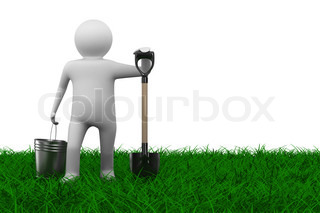 Man with bucket and shovel on grass. Isolated 3D image