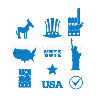 Democrat Donkey Election Icon Set Symbols Of Political Parties In America Statue Of Liberty