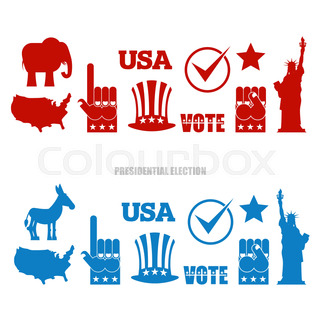 American Elections Sign Set Republican Elephant And Democratic Donkey Symbols Of Political Parties In