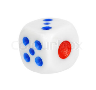 One dice isolated on white background