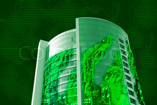Building made of electronic microcircuits, glass and concrete, e-commerce collage, digital clouds background