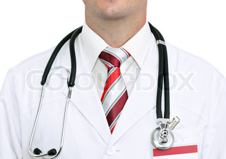 Fragment medical doctor's smock with stethoscope. Isolated over white