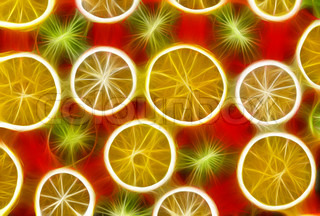Background texture-fruit mix: lemon, orange, kiwi on red background.