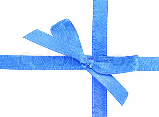 Sample of blue bow isolated on white