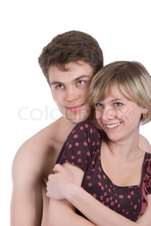 Sexy young couple together isolated over white